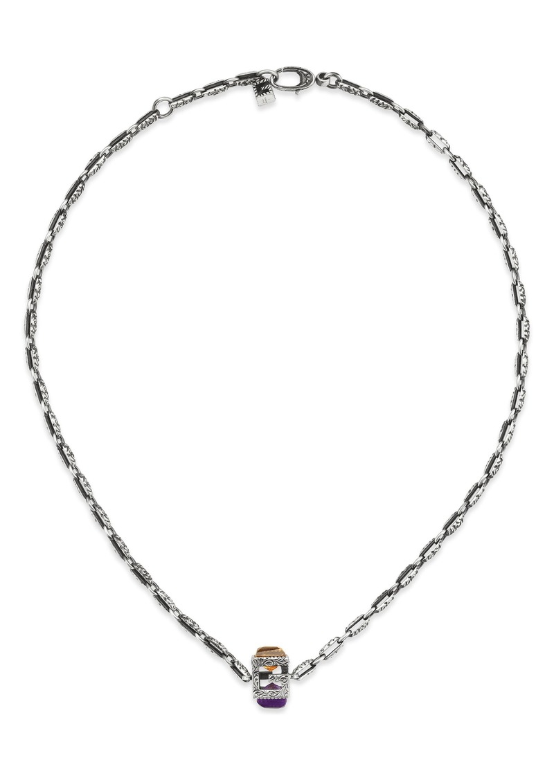 Gucci G-Cube Stone Pendant Necklace