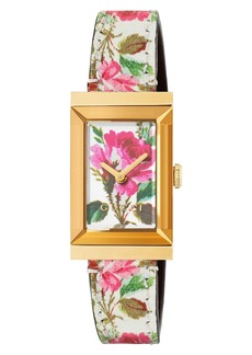 Gucci G-Frame Leather Strap Watch, 21mm x 34mm