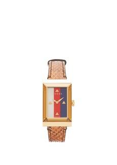 Gucci G-Frame snakeskin watch