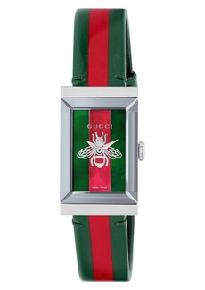 Gucci G-Frame Square Leather Strap Watch, 21mm x 34mm