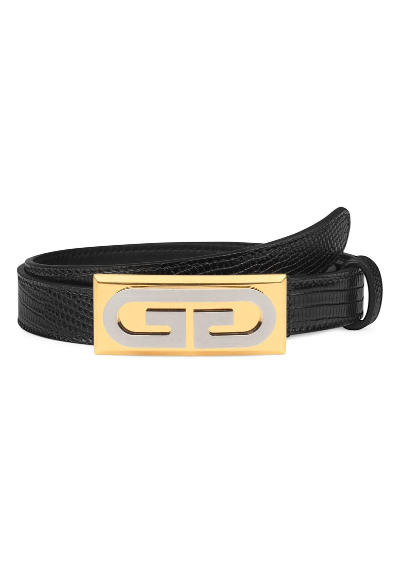 Gucci G-Plaque Genuine Lizardskin Skinny Belt