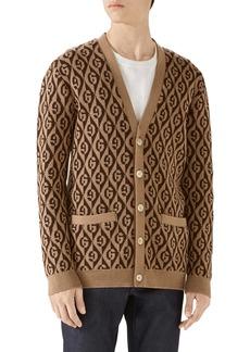 Gucci G Rhombus Jacquard Wool Cardigan