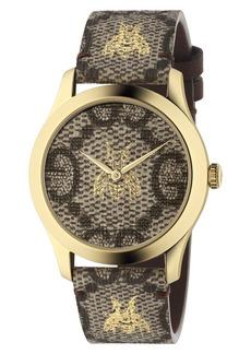 d9f59fb6590 Gucci Gucci Twirl Small Leather Strap Padlock Watch