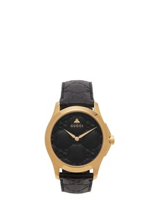 Gucci G-Timeless GG-embossed leather watch
