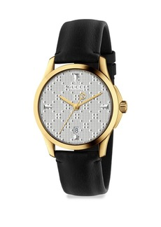 Gucci G-Timeless Goldtone PVD & Leather Strap Watch