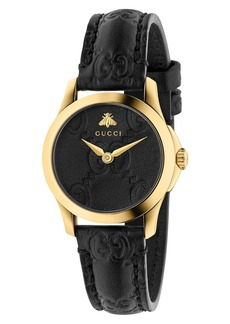Gucci G-Timeless Leather Strap Watch, 27mm