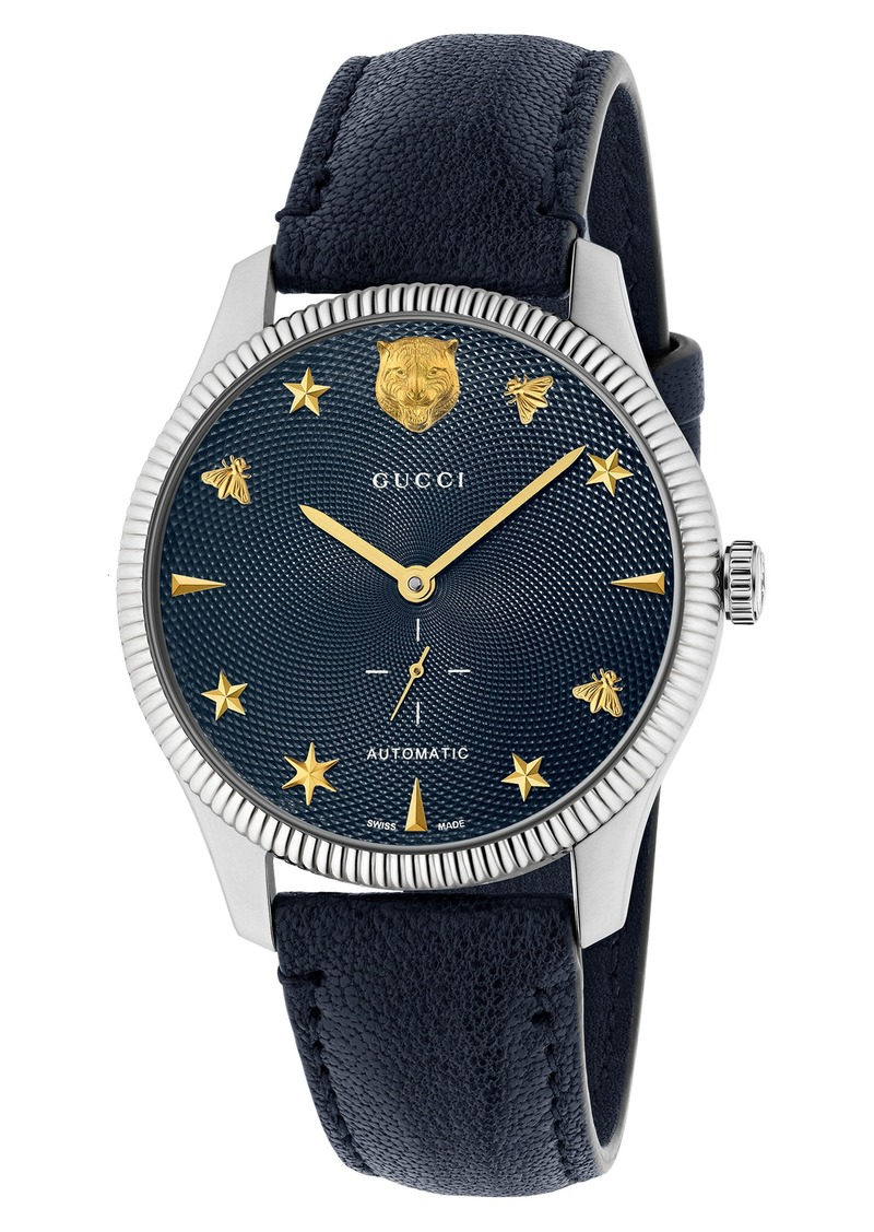 Gucci G-Timeless Leather Strap Watch, 40mm
