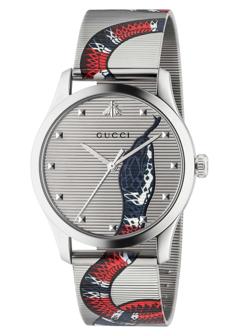 Gucci G-Timeless Snake Mesh Strap Watch, 38mm