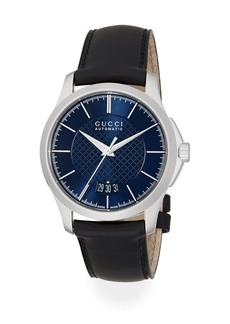 Gucci G-Timeless Stainless Steel & Leather Band Watch