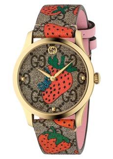 Gucci G-Timeless Strawberry Print Strap Watch, 38mm
