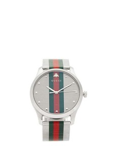 Gucci G-Timeless Web-stripe stainless-steel watch