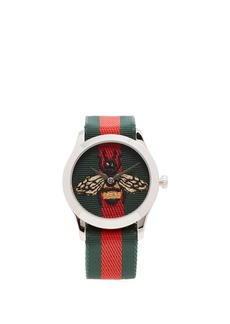 Gucci G-Timeless Web-striped canvas watch