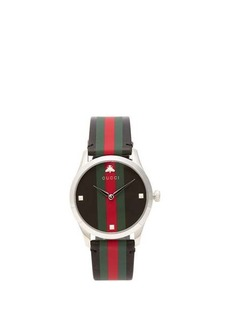 Gucci G-Timeless Web-striped leather watch