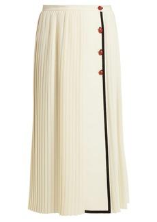 Gucci Gardenia pleated wool-crepe skirt