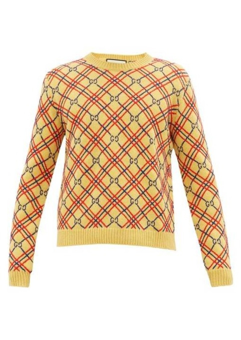 Gucci GG and check-embroidered wool sweater