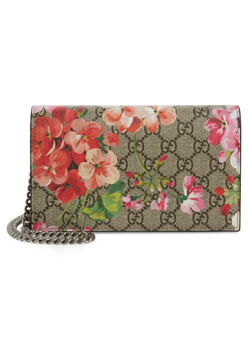 7e220bbf9a1 Gucci Gucci GG Blooms Supreme Canvas Wallet on a Chain