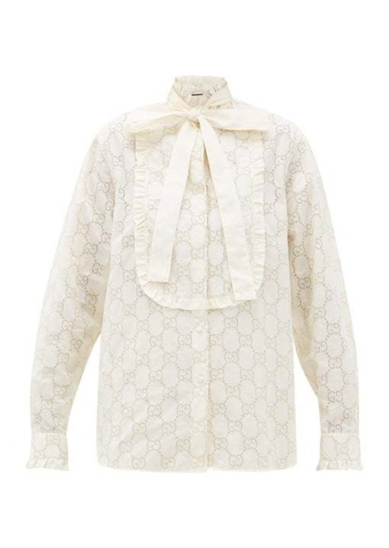 Gucci GG broderie-anglaise cotton-blend shirt