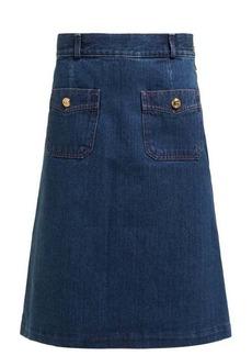 Gucci GG-buttoned denim skirt