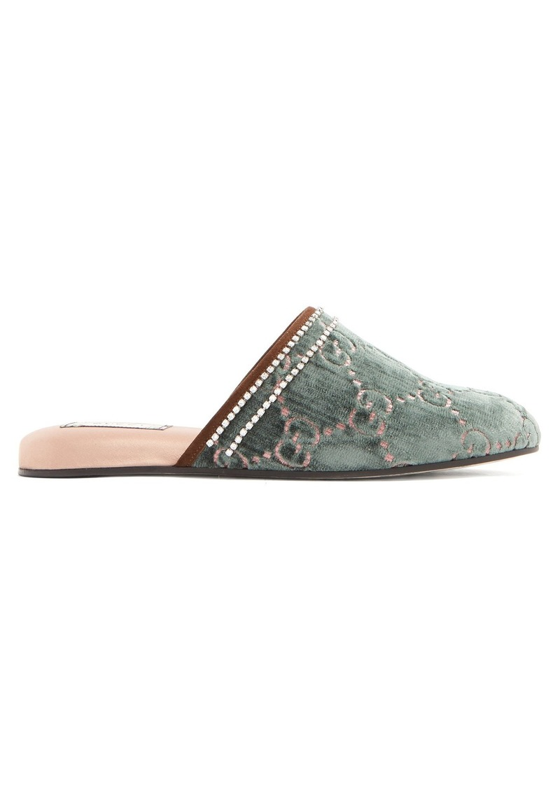 e164b97dfd56 Gucci Gucci GG crystal-embellished velvet slipper shoes