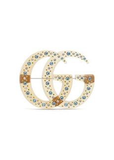 Gucci GG crystal resin brooch