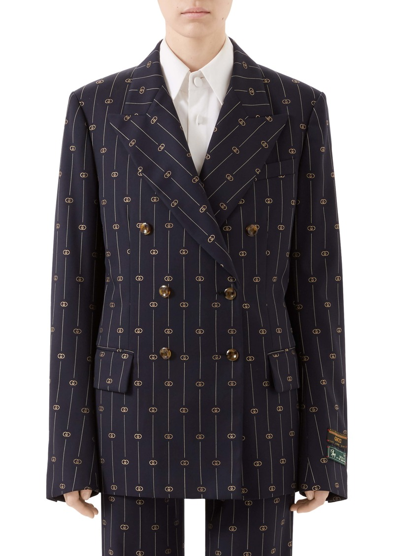 Gucci GG Double Breasted Wool & Silk Blazer