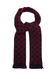 Gucci GG double-knitted reversible wool scarf