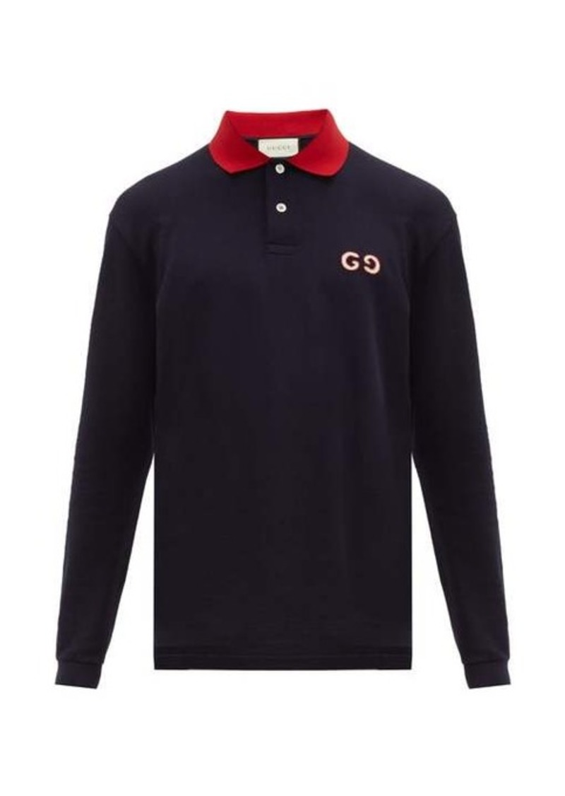 Gucci GG-embroidered cotton-blend polo shirt