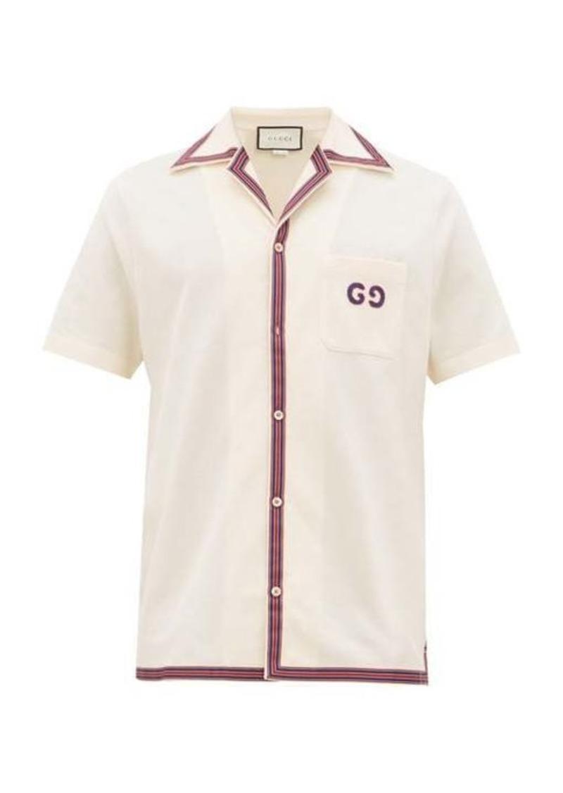 Gucci GG-embroidered cotton-blend shirt