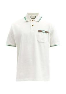 Gucci GG-embroidered cotton-piqué polo shirt