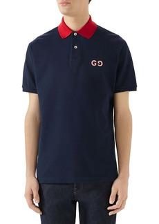 Gucci GG Embroidered Piqué Polo