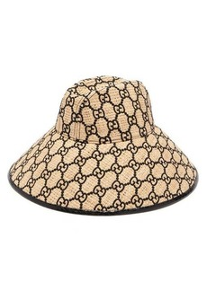 Gucci GG-embroidered snakeskin-trim raffia hat