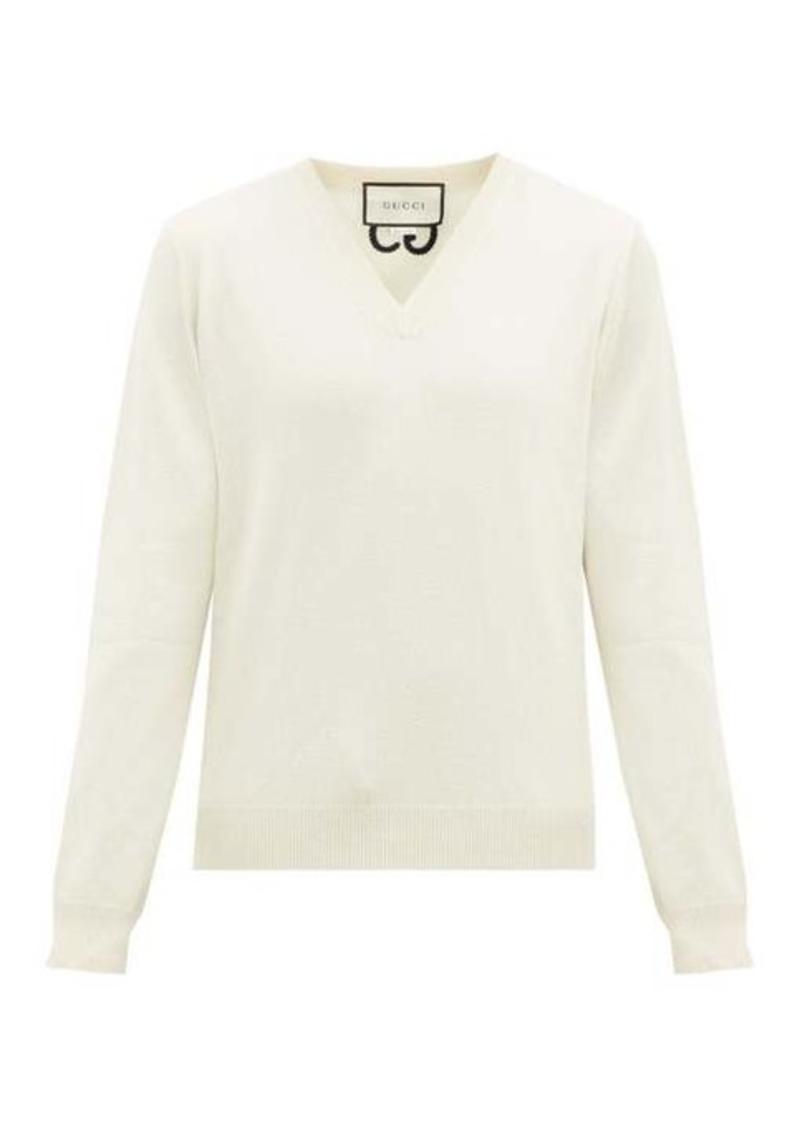 Gucci GG-embroidered V-neck cashmere sweater