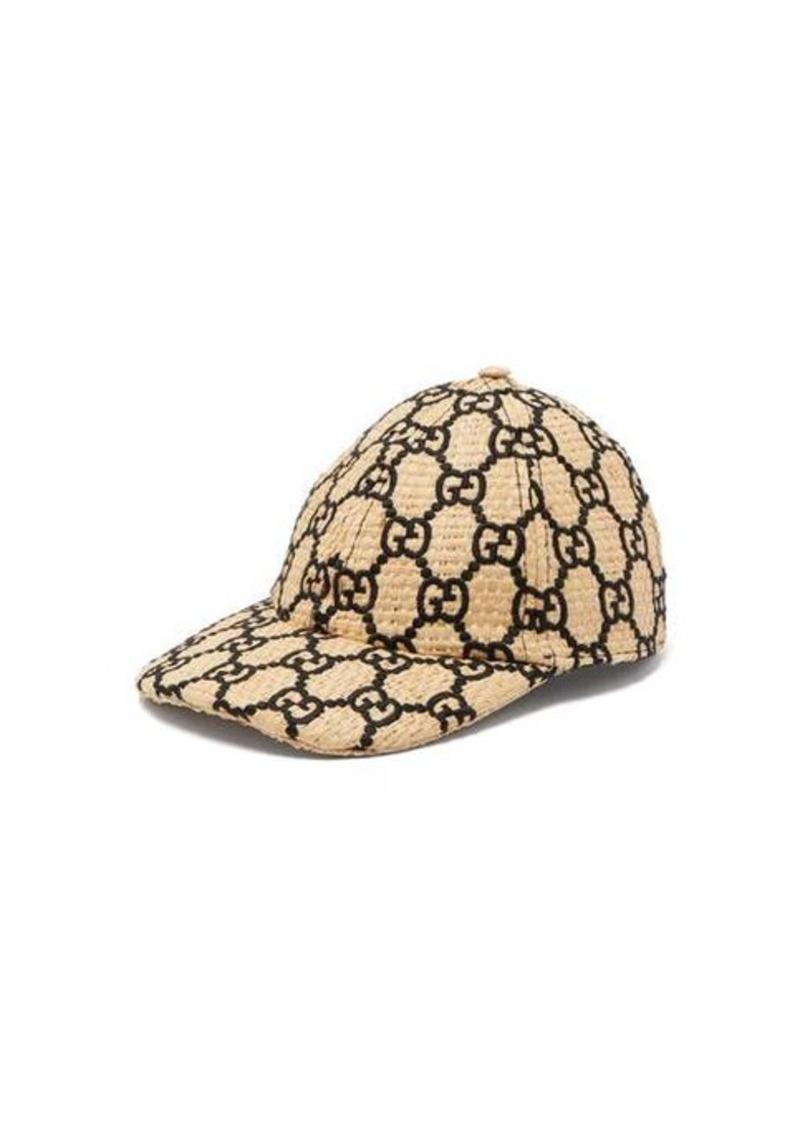 Gucci GG-embroidered woven raffia cap