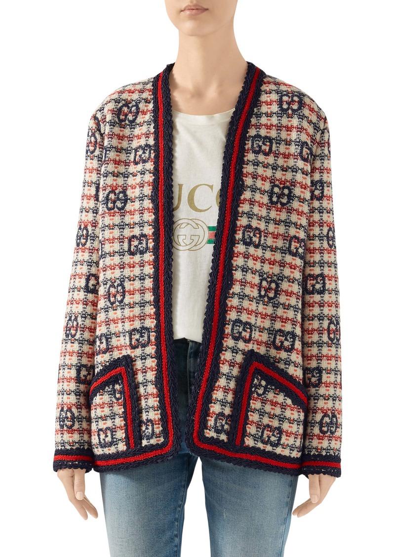 Gucci GG Fancy Check Wool Blend Tweed Jacket