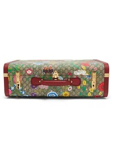 Gucci GG Flora coated canvas and leather suitcase
