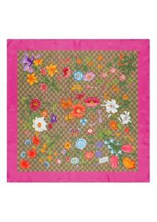 Gucci GG Flora Print Silk Twill Scarf