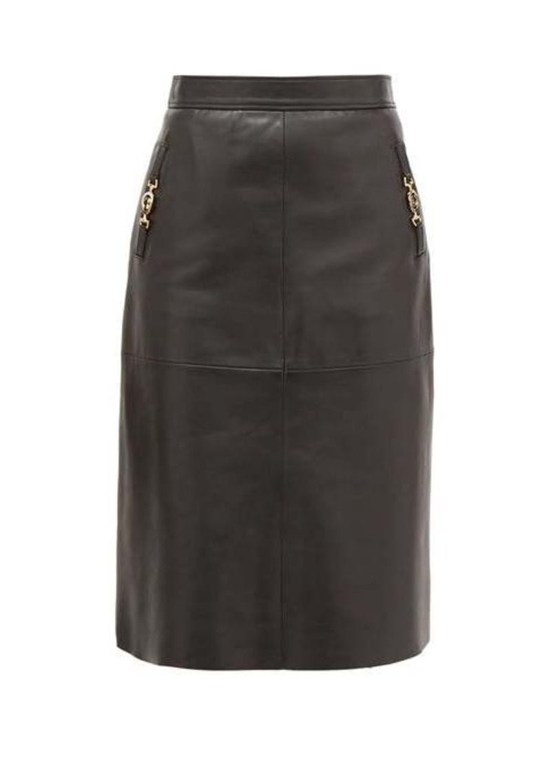 Gucci GG-Horsebit leather skirt