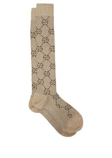 Gucci GG-intarsia knee-high cotton-blend lamé socks