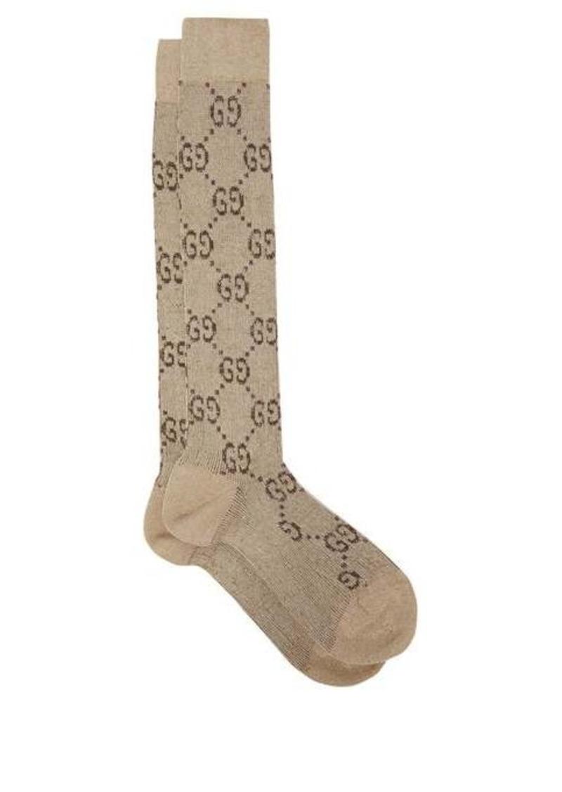 Gucci GG-intarsia knee-high cotton-blend lamé socks