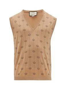 Gucci GG-intarsia wool-blend sleeveless sweater