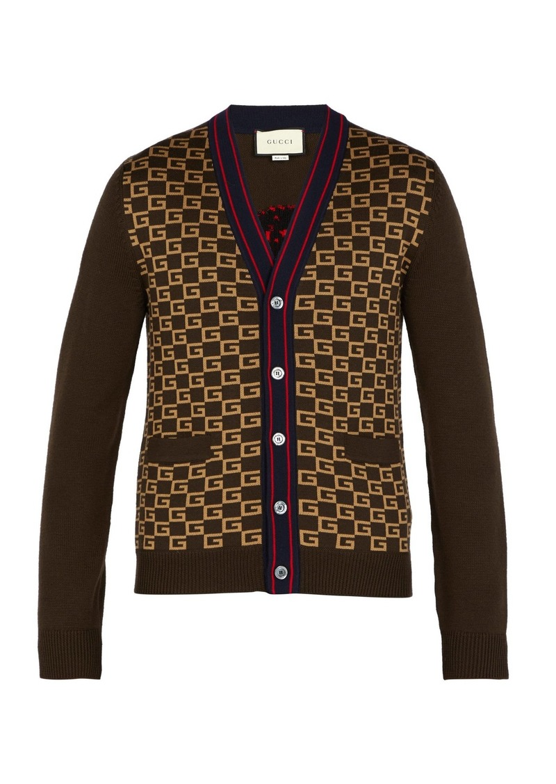 9bfd2a6e8ac Gucci Gucci GG-intarsia wool cardigan   Sweaters
