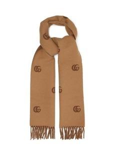 Gucci GG-jacquard fringed wool scarf