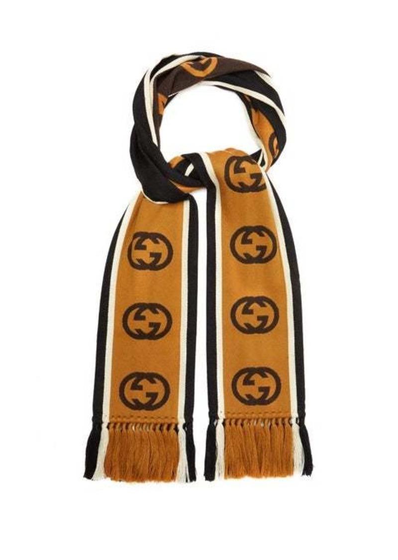 Gucci GG-jacquard striped wool-blend scarf