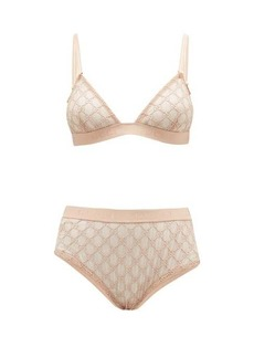 Gucci GG-jacquard tulle bra and high-rise briefs