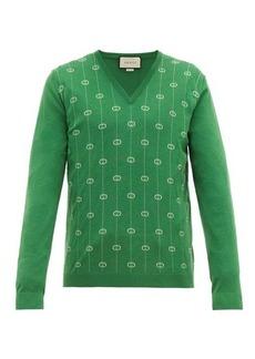 Gucci GG-jacquard V-neck wool-blend sweater