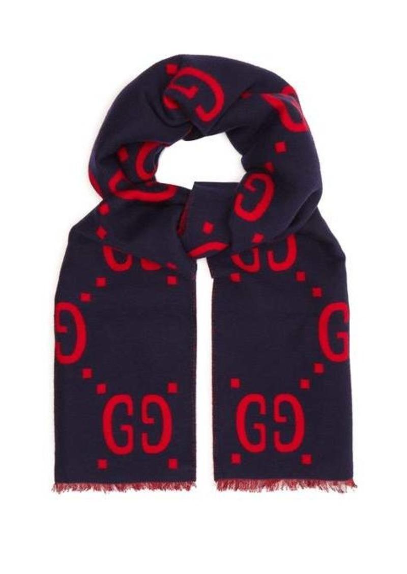 Gucci GG-jacquard wool-blend scarf