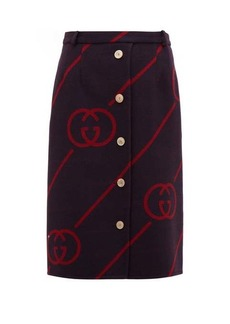 Gucci GG-jacquard wool-blend skirt