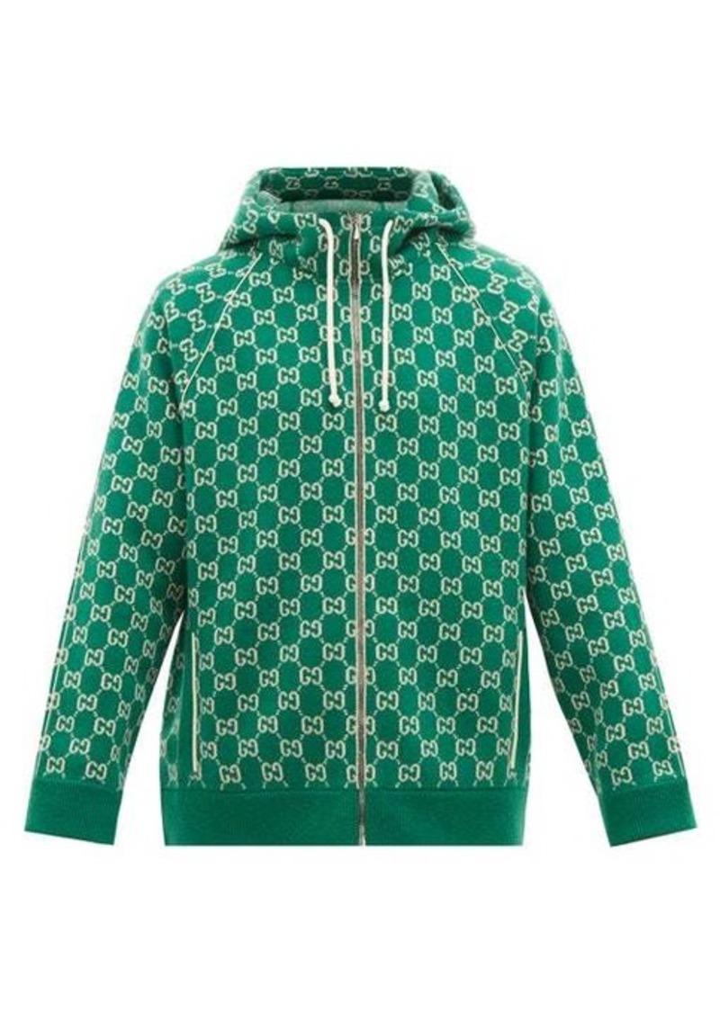 Gucci GG-jacquard wool-blend zip-through hooded sweater