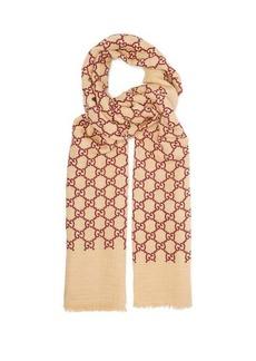 Gucci GG linen-blend gauze scarf