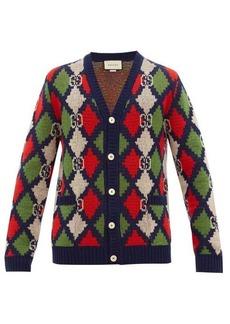 Gucci GG-logo argyle wool cardigan